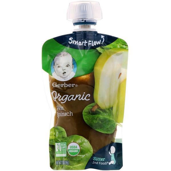 Gerber, Основное питание, Органическое детское пюре из груши и шпината, 3,5 унции (99 г) (Discontinued Item)