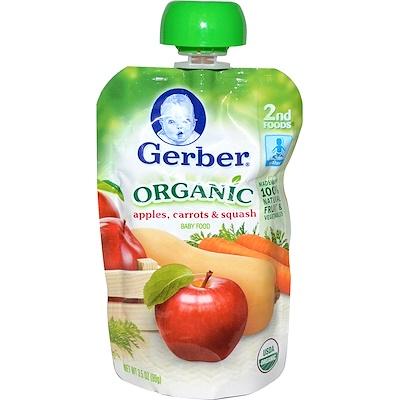 Gerber 後備有機寶寶食品,含蘋果,胡蘿蔔與果泥,3.5盎司(99克)