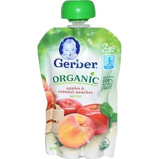 Gerber, 2nd Foods、オーガニック離乳食、リンゴ&サマーピーチ、 3.5 オンス(99 g)