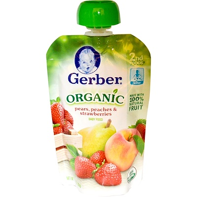 Organic Baby Food, Pears, Peaches & Strawberries, 3.5 oz (99 g)