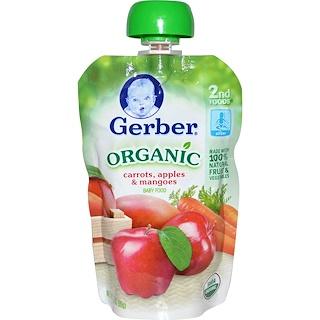 Gerber, 2nd Foods®(2番目の食事)、オーガニック ベビーフード、ニンジン・リンゴ・マンゴー、3.5オンス(99 g)