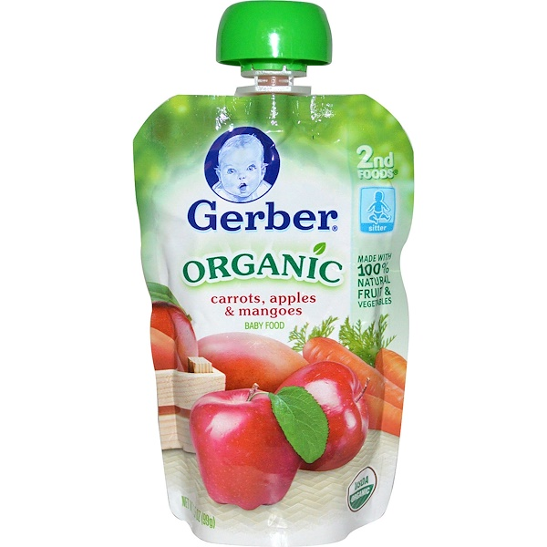 Gerber, Organic Baby Food, Carrots, Apples & Mangoes, 3.5 oz (99 g)