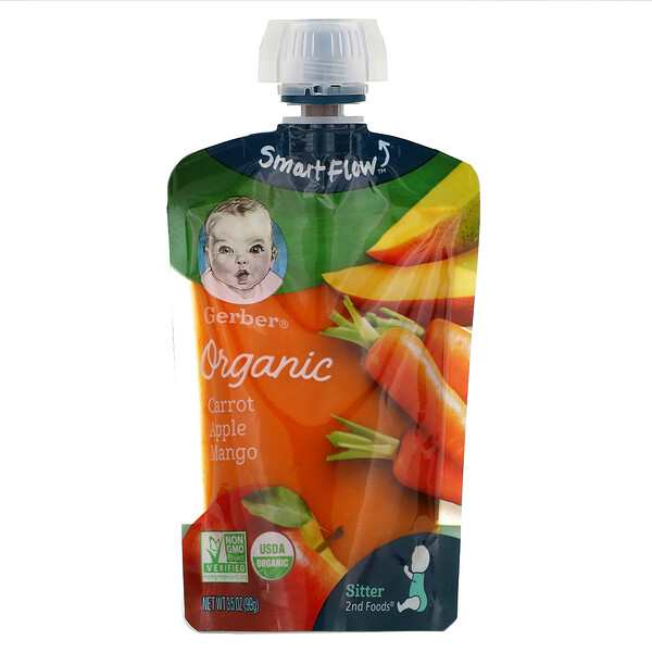 Smart Flow, Organic, Carrot, Apple, Mango, 3.5 oz (99 g)