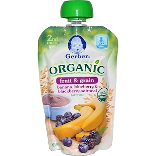 Gerber, 2nd Foods, Organic Baby Food, Fruit & Grain, Banana, Blueberry & Blackberry Oatmeal, 3.5 oz (99 g)
