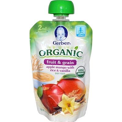 Gerber 二段輔食,有機嬰兒食品,水果和穀物,蘋果芒果配大米及香草,3.5盎司(99克)