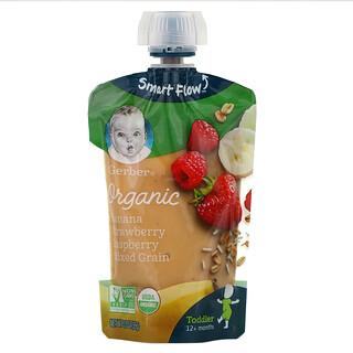 Gerber, Smart Flow, Organic, Banana, Strawberry, Raspberry, Mixed Grain, 12+ Months, 3.5 oz (99 g)
