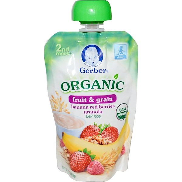 Gerber, 2nd Foods, Organic, Baby Food, Fruit & Grain, Banana Red Berries Granola, 3.5 oz (99 g)
