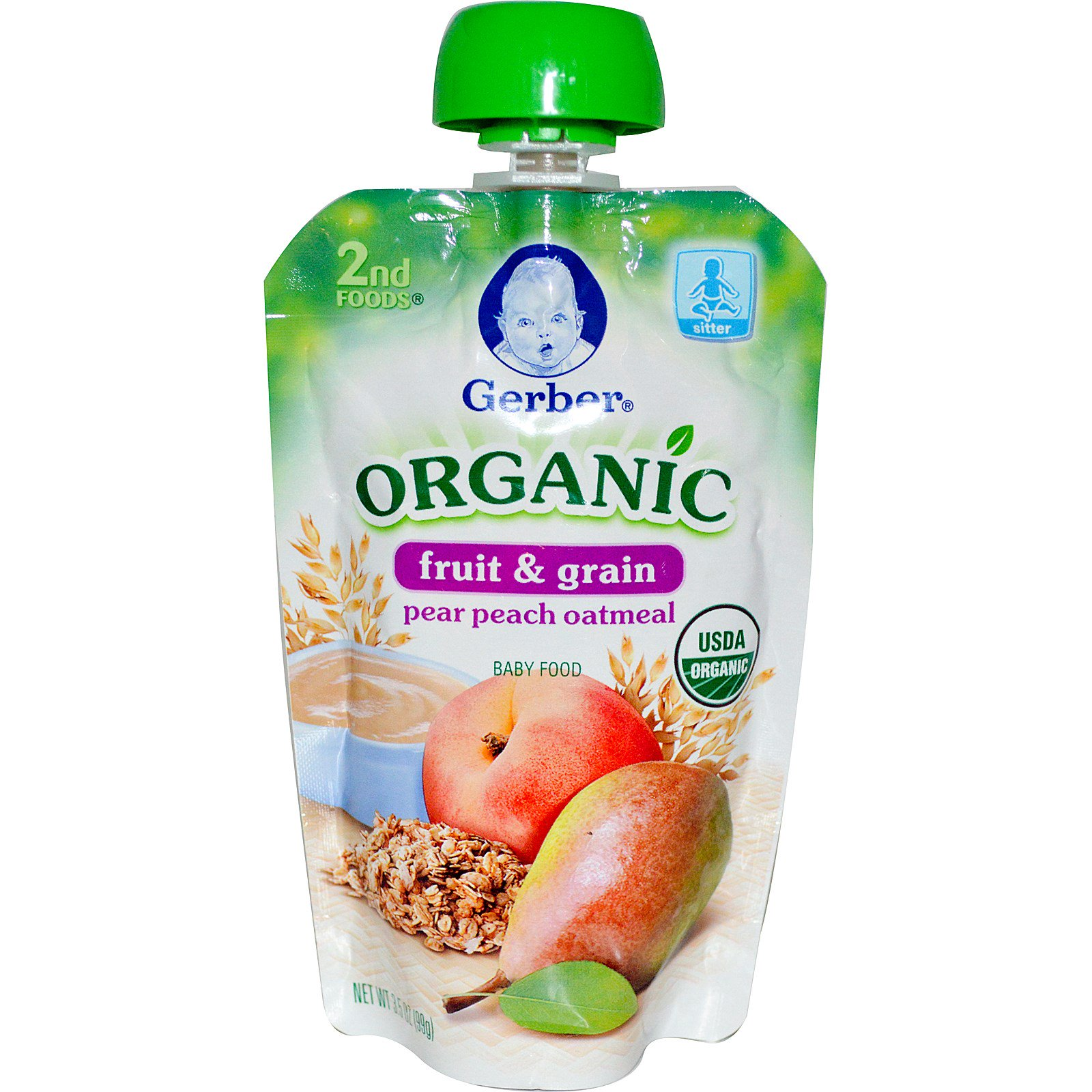Gerber, 2nd Foods, Organic Baby Food, Fruit & Grain, Pear Peach Oatmeal, 3.5 oz (99 g) - iHerb.com