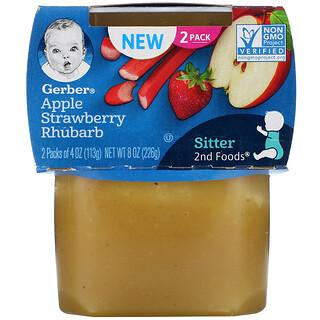 Gerber, تفاح، وفراولة، وراوند، عبوتان، 4 أونصات (113 جم) لكل عبوة