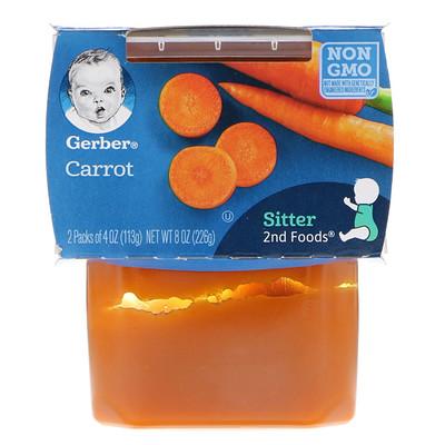 Gerber 第2階段食品,胡蘿蔔,2包,每包4盎司(113克)