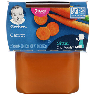 Gerber, морковь, 2баночки, 113г (4унции) в каждой