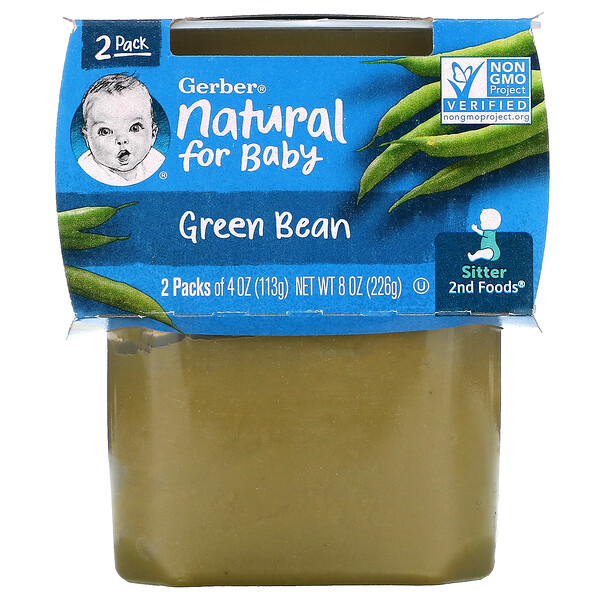 Natural For Baby, Green Bean, Sitter, 2 Pack, 4 oz (113 g) Each