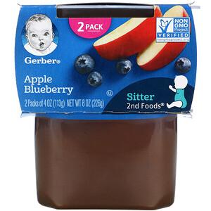 Gerber, Apple Blueberry, Sitter, 2 Pack, 4 oz (113 g) Each