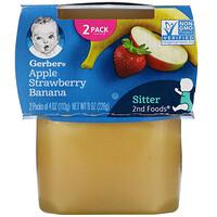 Gerber, Apple, Strawberry, Banana, 2 Packs, 4 oz (113 g) Each