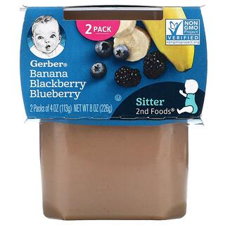 Gerber, Banana Blackberry Blueberry, 2nd Foods, 2 Pack, 4 oz (113 g) Each