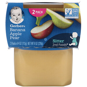 Gerber, Banana, Apple, Pear, 2 Packs, 4 oz (113 g) Each