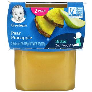 Gerber, Pear, Pineapple, Sitter, 2 Packs, 4 oz (113 g) Each