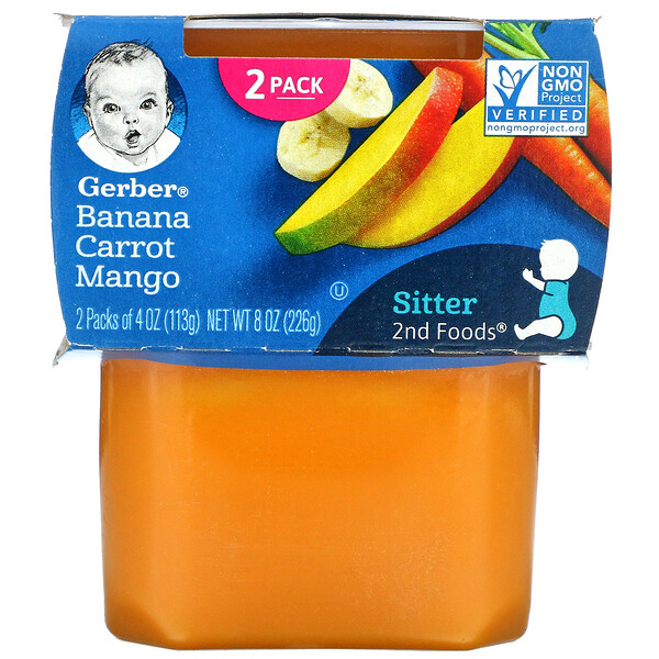 Banana Carrot Mango, 2nd Foods, 2 Pack, 4 oz (113 g) Each