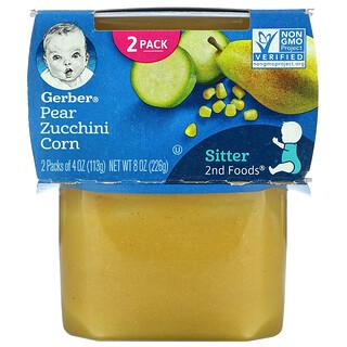 Gerber, Pear Zucchini Corn,第 2 阶段辅食,2 包,每包 4 盎司(113 克)