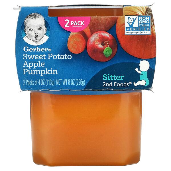 甘薯苹果南瓜,第 2 阶段辅食,2 包,每包 4 盎司(113 克)