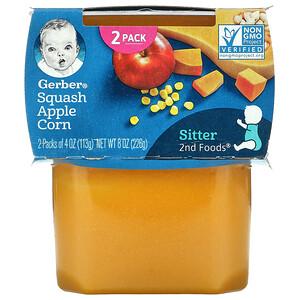 Gerber, Squash Apple Corn, 2nd Foods, 2 Pack, 4 oz (113 g) Each
