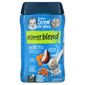 Gerber, Powerblend Cereal for Baby, Probiotic Oatmeal, Lentil, Carrots & Apples, 8+ Months, 8 oz (227 g)
