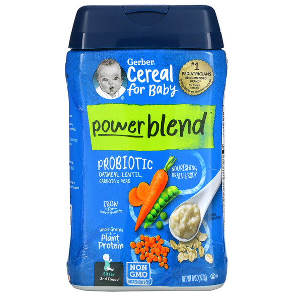 Powerblend Cereal for Baby, Probiotic Oatmeal, Lentil, Carrots & Peas, Sitter, 8 oz (227 g)