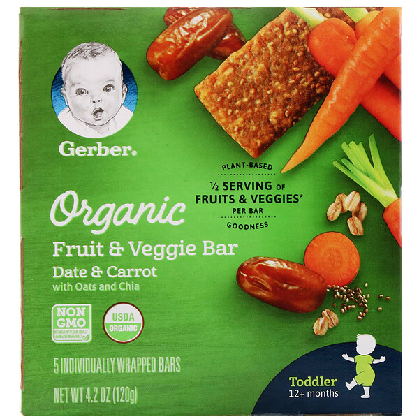 Gerber, Organic Fruit & Veggie Bar, 12+ Months, Date & Carrot, 5 Individually Wrapped Bars, 4.2 oz (120 g)