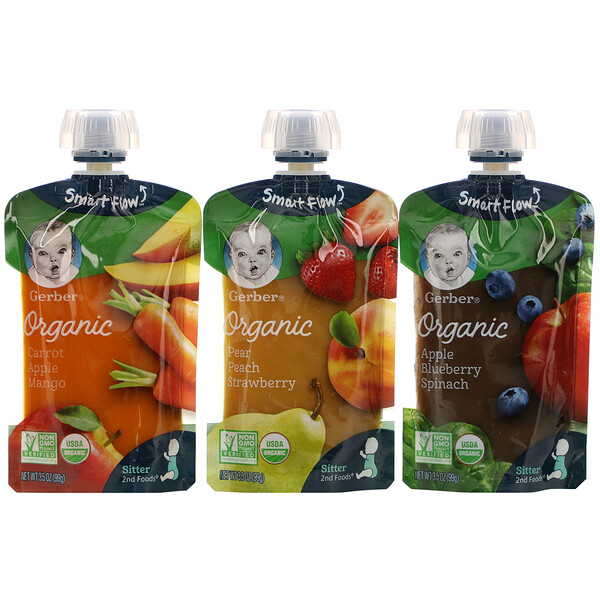Organic Value Pack,  Pear Peach Strawberry, Carrot Apple Mango, Apple Blueberry Spinach, 9 Pouches, 3.5 oz (99 g) Each