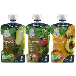 Gerber, Organic Variety Pack, Pear Spinach, Pear Mango Avocado, Apple Zucchini Spinach Strawberry, 9 Pouches, 3.5 oz (99 g) Each