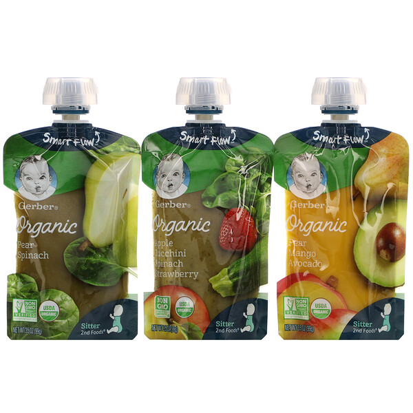 Organic Variety Pack, Pear Spinach, Pear Mango Avocado, Apple Zucchini Spinach Strawberry, 9 Pouches, 3.5 oz (99 g) Each