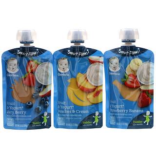 Gerber, 组合包,12 个月以上,水果与酸奶,9 小袋,每小袋 3.5 盎司(99 克)