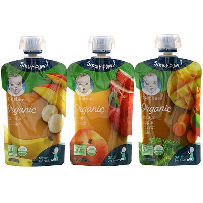 Купить Gerber Organic, набор с разными вкусами: манго, яблоко, морковь и листовая капуста; яблоко и персик; банан и манго, 9 пакетиков, 99 г (3, 5г) каждый