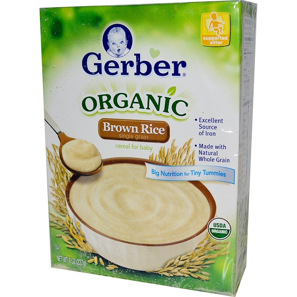 Gerber, Organic Brown Rice, Cereal for Baby, Supported Sitter, 8 oz (227 g) (Discontinued Item)