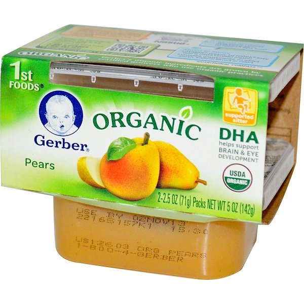 Gerber, 1st Foods, Organic, Pears, 2 Packs, 2.5 oz (71 g) Each (Discontinued Item)