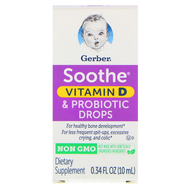 Gerber, Soothe, Vitamin D & Probiotic Drops, Birth+, 0.34 fl oz (10 ml)