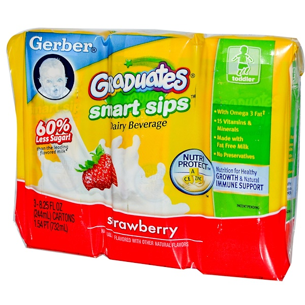 Gerber, Graduates Smart Sips, Diary Beverages, Strawberry, 3 Cartons, 8.25 fl oz (244 ml) Each (Discontinued Item)