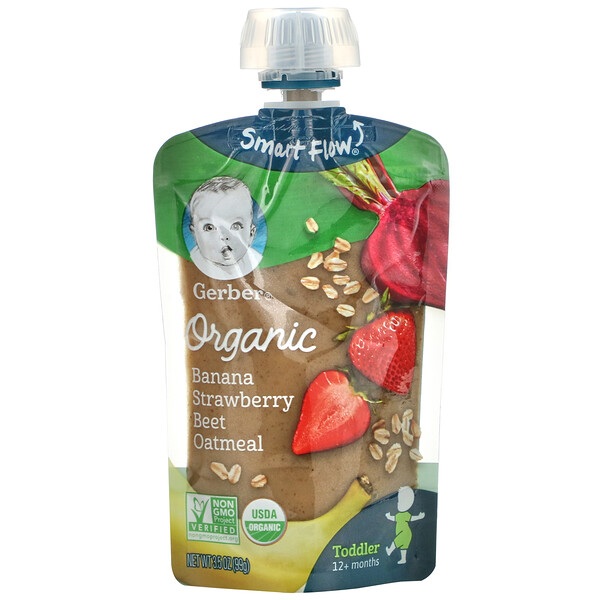 Organic Banana, Strawberry, Beet, Oatmeal, Toddler, 12+ Months, 3.5 oz (99 g)