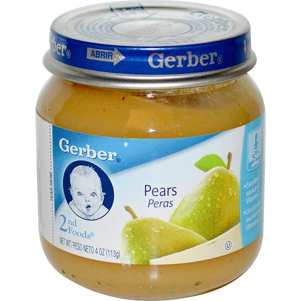 Gerber, 2-я пища, груши, для самостоятельно сидящих, 4 унции (113 г) (Discontinued Item)
