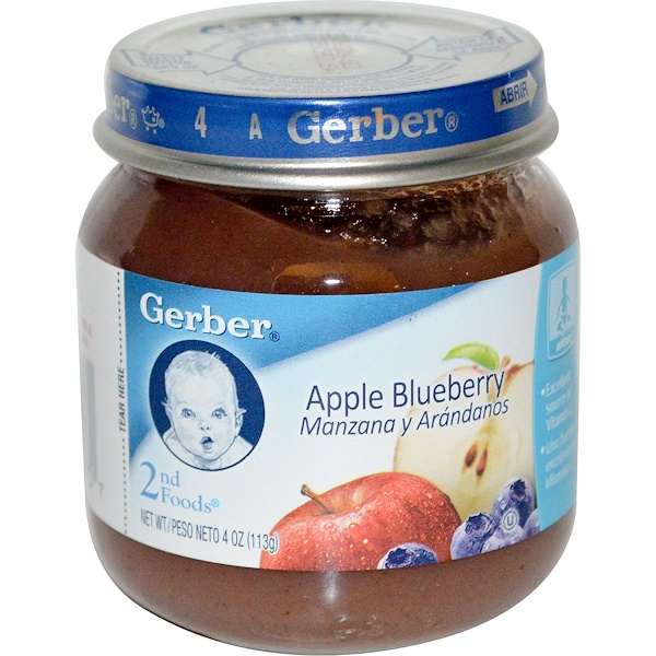 Gerber, 2nd Foods, Apple Blueberry, Sitter, 4 oz (113 g) (Discontinued Item)