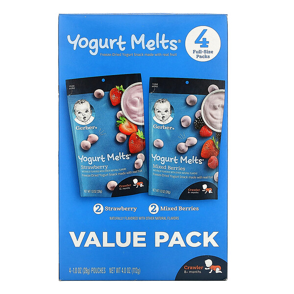 Gerber, Yogurt Melts, 8+ Months, Strawberry & Mixed Berries,  4 Packs, 1.0 oz (28 g) Each