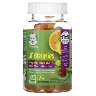 Gerber, Lil Brainies، مزيج أوميجا الثلاثي وحمض الدوكوساهيكسينويك، فيتامينات متعددة للأطفال، من عمر سنتين فيما فوق، 60 علكة