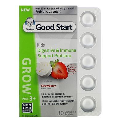 Купить Gerber Good Start, Grow, пробиотики для поддержки иммунной системы и пищеварения для детей старше 3лет, со вкусом клубники, 30жевательных таблеток