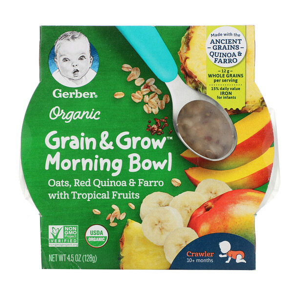Organic Grain & Grow Morning Bowl, 10+ Months, Oats, Red Quinoa & Farro with Tropical Fruits, 4.5 oz (128 g)