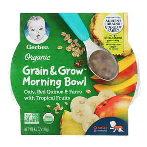 Gerber, Organic Grain & Grow Morning Bowl, 10+ Months, Oats, Red Quinoa & Farro with Tropical Fruits, 4.5 oz (128 g)