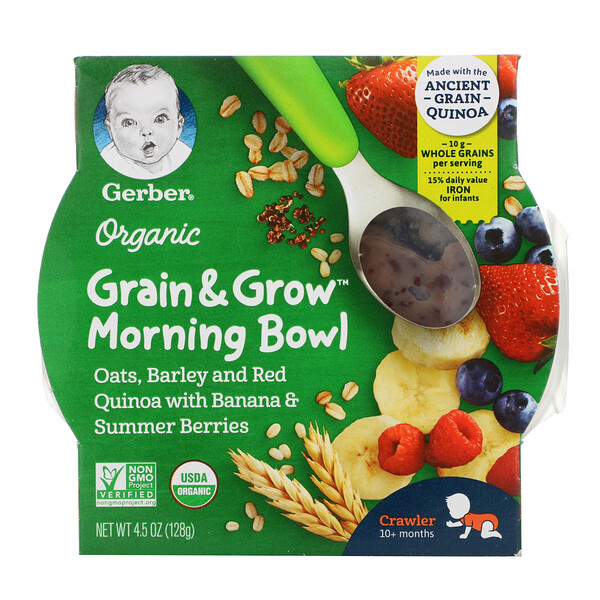 Organic, Grain & Grow, Morning Bowl, 10+ Months, Oats, Barley and Red Quinoa with Banana & Summer Berries, 4.5 oz (128 g)