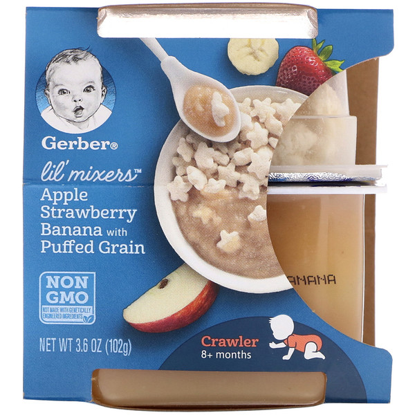 Lil Mixers, 8+ Months, Apple Strawberry Banana With Puffed Grain, 3.6 oz (102 g)