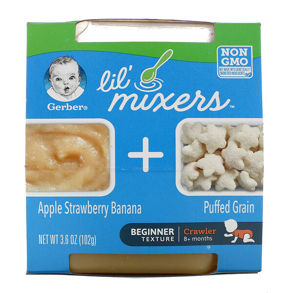 Gerber, Lil Mixers, 8+ Months, Apple Strawberry Banana With Puffed Grain, 3.6 oz (102 g)