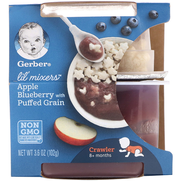 Lil' Mixers, 8+ Months, Apple Blueberry With Puffed Grain, 3.6 oz (102 g)
