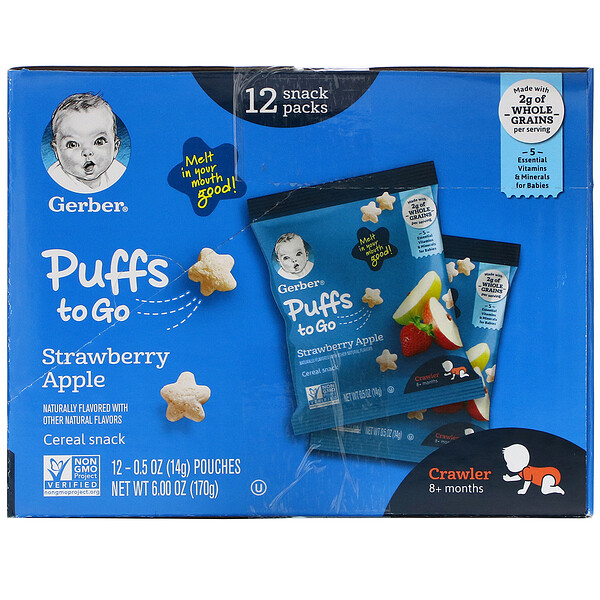 Puffs to Go, 8+ Months,  Strawberry Apple, 12 Snack Packs,  0.5 oz (14 g) Each